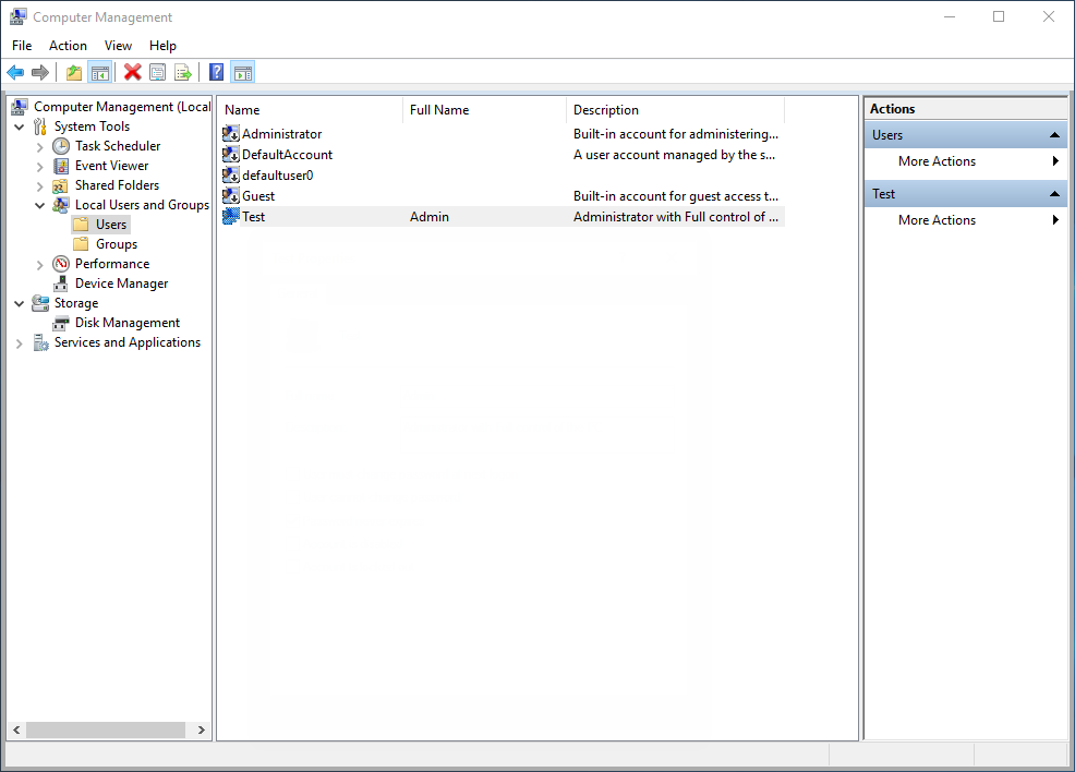 SOP - Setting the user rights in Windows 10
